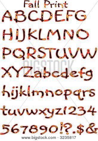 Vector Fall Pattern Alphabet Print.Eps