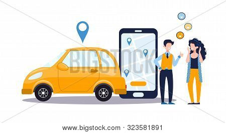 Car Sharing Service Concept With Positive Woman And Man, Telephone With App, Yellow Car. Online Map