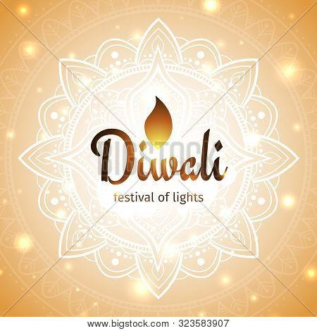 Festive Diwali Card. Diwali Vector Illustration. Design Template With Light Festive Golden Backgroun