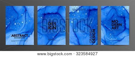 Blue Ultramarine Ink Vector Textures Backgrounds Set. Ink Colors Are Amazingly Bright, Luminous, Tra
