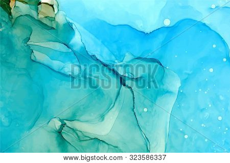 Flowing Alcohol Ink Abstract Vector Background. Azure, Sapphire Colored Texture. Ethereal Watercolor