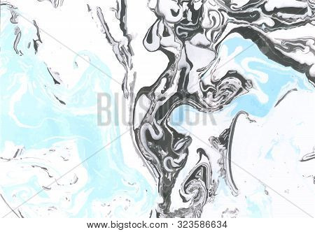 Blue, Black And White Marble Texture. Pastel Vector Marble Background. Decorative Acrylic Texture. I