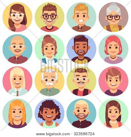 Flat Avatars. Different Portraits Of Men And Women Diverse Ages. Professional Team Faces. Office Wor