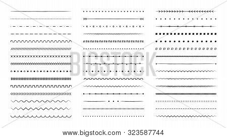 Set Of Hand Drawn Vector Line Border. Lines, Borders, Underline Pencil Strokes, Drawing Dividers. Do