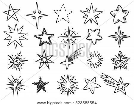 Sketch Stars. Grunge Star Shapes, Black Hand Drawn Vector Elements For Christmas Decoration, Night S