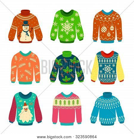 Ugly Sweater. Knitted Jumpers With Christmas Patterns, Snowman And Santa Claus. Xmas Scrapbook Eleme