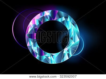 Round, Faceted, Abstract, Transparent Banner With Blue And Pink Neon Lights On Black Background.