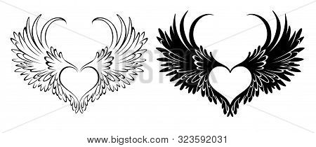 Two Artistically Drawn In Tattoo Style, Angel Hearts With Wings On White Background.