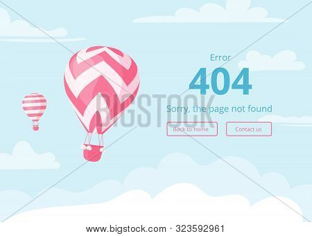 Hot Air Balloon With Red Zig-zags On Blue Sky Scape With Warning Message, Error 404, Sorry Page Not