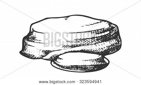 Stone River Decoration Rock Monochrome Vector. Geological Or Mountain Climb Element Stone Cobble. Na