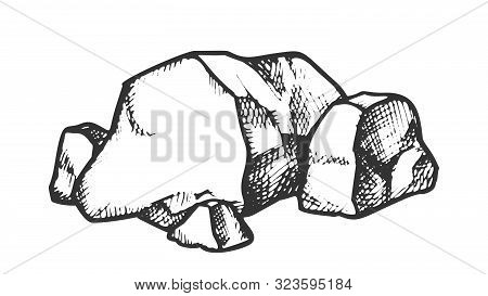 Stone Pile Cobblestone Boulder Monochrome Vector. Solid Strong Stone Castle Build Material. Natural