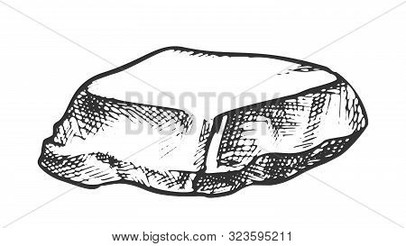 Stone Cobble Boulder Smooth Top Vintage Vector. Solid Heavy Stone Cliff Mountain Detail. Natural Blo