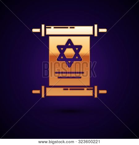 Gold Torah Scroll Icon Isolated On Dark Blue Background. Jewish Torah In Expanded Form. Star Of Davi