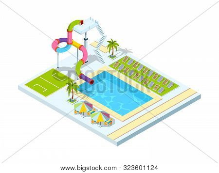 Pool Hotel. Recreation Area Resort Vacation Water Slide Park Vector Isometric Illustration. Resort P