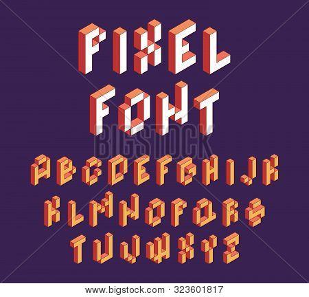 Pixel Font. Retro Block Alphabet Game In Retro Style 90s Cubic Letters Vector Isometric Font. Illust
