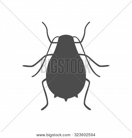 Aphid Silhouette On White Background. Vector Icon.