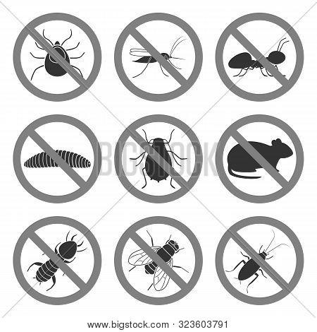 Pest Control Symbols. Icon Set. Vector Illustration.