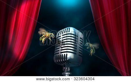 Honey Bees In Concert. Microphone Buzzing Noise Concept.