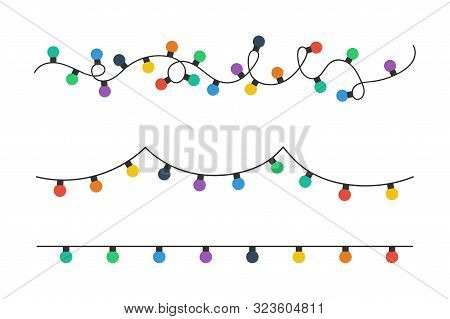 Christmas Lights Bulbs. Colorful Christmas Lights Bulbs Isolated On White Background. Color Garlands