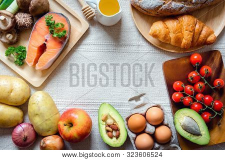 Healthy Nutrition And Natural Ingredient Food Concept,  Nutrient Balanced Health With Organic Vegeta