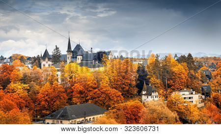 poster of Cityscape Historical Architecture Building of Bern at Autumn Season, Switzerland, Capital City Landscape Scenery and Historic Town Places of Bern., Architectural Urban Downtown of Swiss Culture
