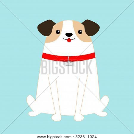 poster of Dog sitting. White puppy pooch. Red collar bone. Cute cartoon kawaii funny baby character. Flat design style. Help homeless animal concept. Adopt me. Pet adoption. Blue background. Isolated. Vector