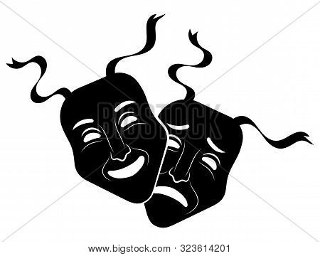 Theatre Masks. Drama And Comedy. Illustration For The Theater. Tragedy And Comedy Mask. Black White