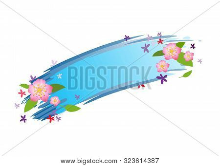 Summer Banner With Flowers And Leaves. Isolated Vector Image.eps 10