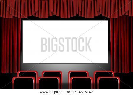 Red Stage Drapes In A Movie Theatre Setting: Illustration In Photoshop