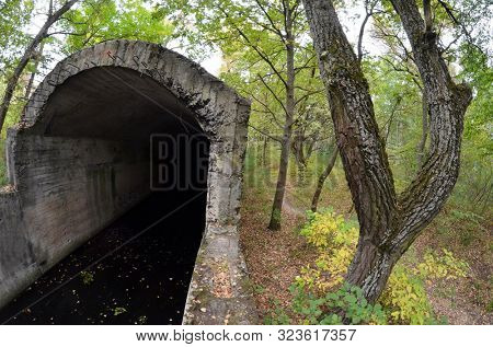 Old tunnel of Stalin. Part of Kiev defense line in WW2 time. poster