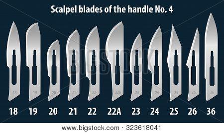 Set of scalpel handle blades No. 4. Manual surgical medical instrument. Vector illustration. poster