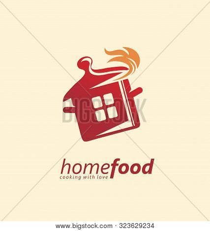 Home Cooking Logo Design Idea. Red Pot With Flames Logo Template. Vector Logo For Restaurant Or Cate