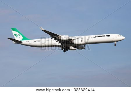 Istanbul / Turkey - March 28, 2019: Mahan Air Airbus A340-600 Ep-mmf Passenger Plane Landing At Ista