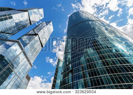 Moscow, Russia - July 9, 2019: Complex Of Skyscrapers Moscow City. Moscow International Business Cen