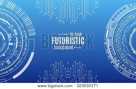 Hi-tech Digital Technology Concept. Illustration High Computer Technology On Blue Background.  Abstr