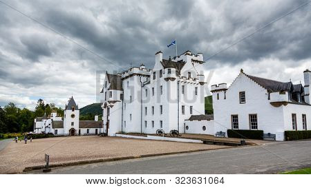 Blair Atholl, UK - 7th August 2015: Storm clouds over Blair Castle,  a medieval stronghold at Blair Atholl, Perthshire, Scotland.
