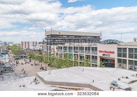 Wolfsburg, Germany - June 8, 2019: View Of Porschestrasse And City-galerie Mall In Wolfsburg.