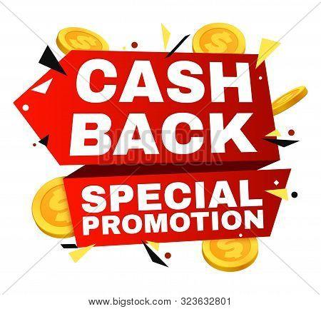 Cash Back Vector Label. Money Refund Banner With Gold Coins. Cash Offer Refund, Cashback Finance Fro