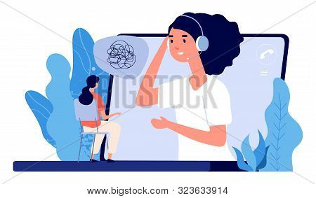 Psychological Counseling Concept. Vector Online Psychological Assistance Service Illustration. Onlin