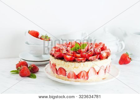 Strawberry Cake Fraisier On The White Plate And Cups