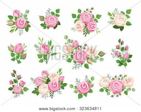 Rose Bouquets. Red, White And Pink Roses, Flower Elements With Green Leaves And Buds. Watercolor Wed