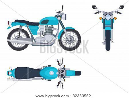 Motorbike Side And Top View. Motorcycle Motocross Vehicles. Detailed Motorcycling Transport Isolated