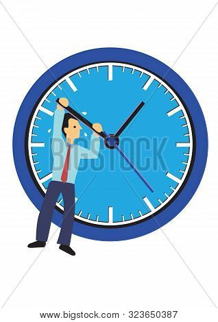 Businessman Hanging On A Clock. Concept Of Time Management Or Urgency. Flat Isolated Vector Illustra