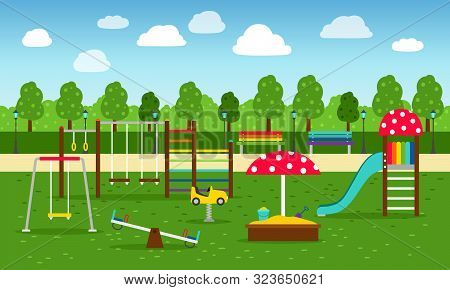 Park Playground. Playing Garden Leisure Equipment Without Kids Vector Illustration, Play And Sports