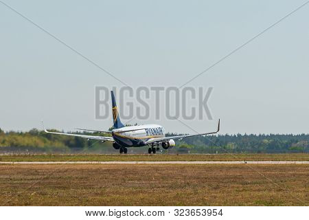 Kyiv, Ukraine - September 10, 2019: Preparing For Take-off Ryanair Plane. Ryanair Is The Biggest Low