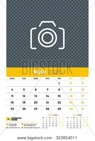 Wall Calendar Planner Template For May 2020. Week Starts On Monday. Typographic Design Template. Yel