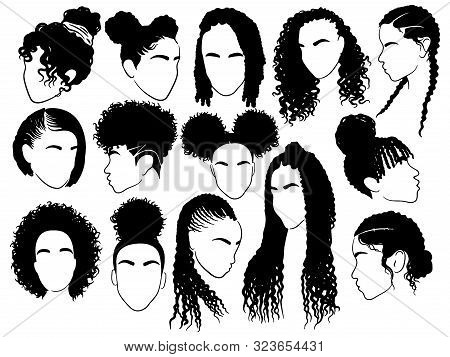 Set Of Female Afro Hairstyles. Collection Of Dreads And Afro Braids For A Girl. Black And White Illu