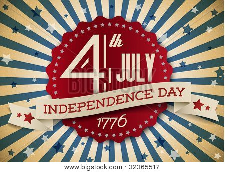 Vector independence day badge / poster - retro vintage version