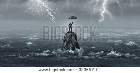 Business Umbrella Held By A Businessman In A Storm With Thunder And Lightning As A Corporate Crisis