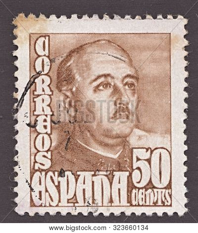 Spain - Circa 1947: Stamp Printed By Spain, Shows General Francisco Franco, Who Ruled Over Spain As